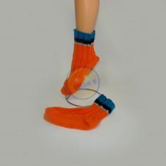 Ponožky dámské oranžové s pruhem