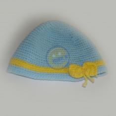 Čepice modrá s mašličkou
