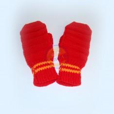 Rukavice dámské červené s pruhem