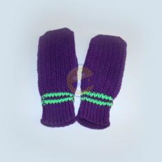 Rukavice dámské fialové pruh