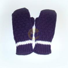 Rukavice dámské tm. fialové s bílým pruhem